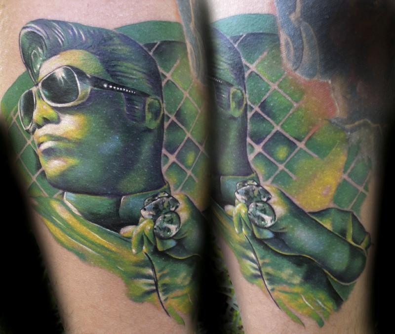 Illustrative style colored Elvis with diamonds tattoo