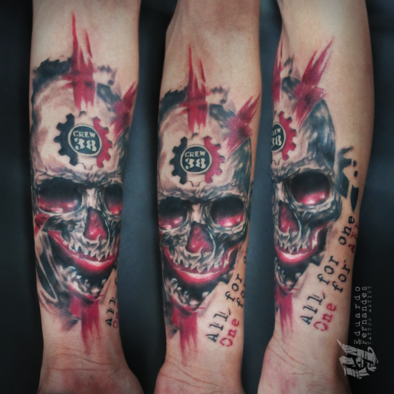 Illustrative style colored forearm tattoo of human skull with lettering and number