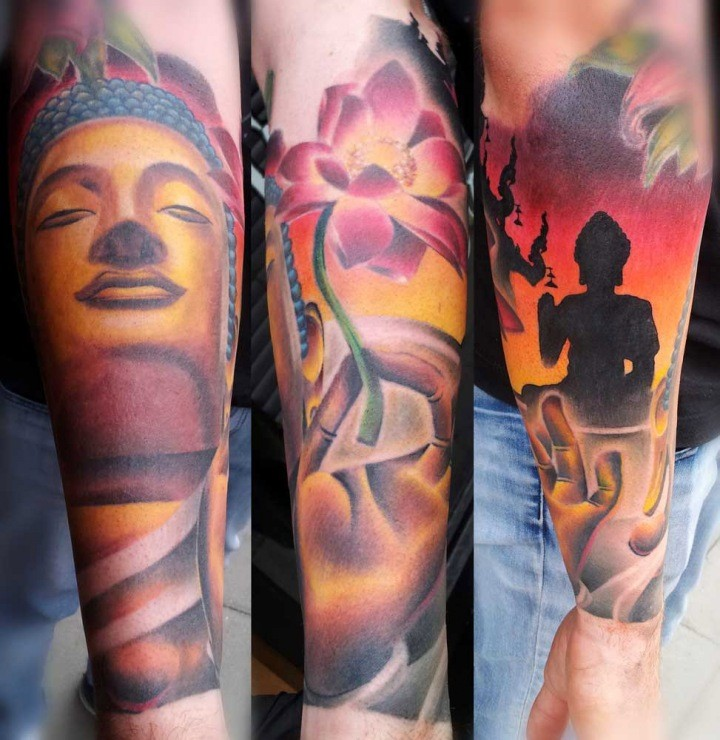 Illustrative style colored forearm tattoo of Buddha statue with flowers