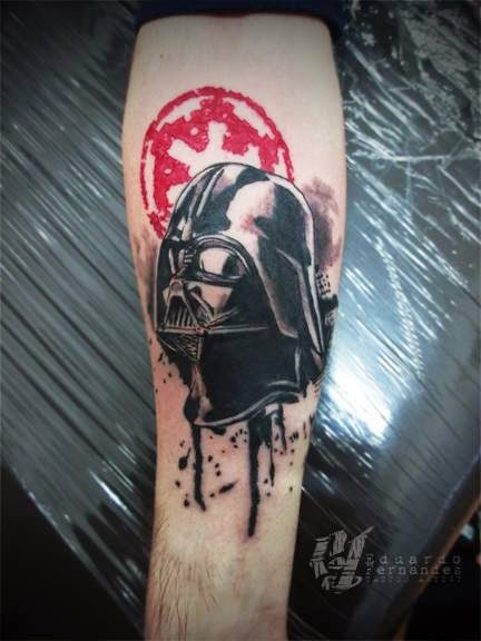 Illustrative style colored forearm tattoo of Darth Vader and Empire emblem