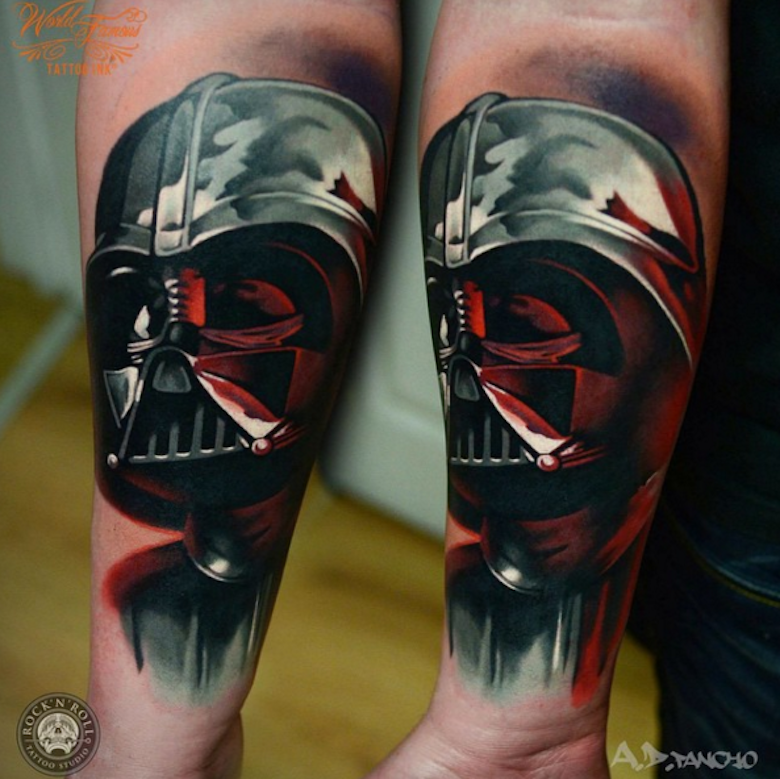 Illustrative style colored forearm tattoo of Darth Vader
