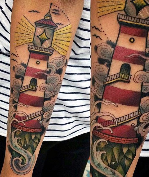 Illustrative style colored forearm tattoo of lighthouse and waves
