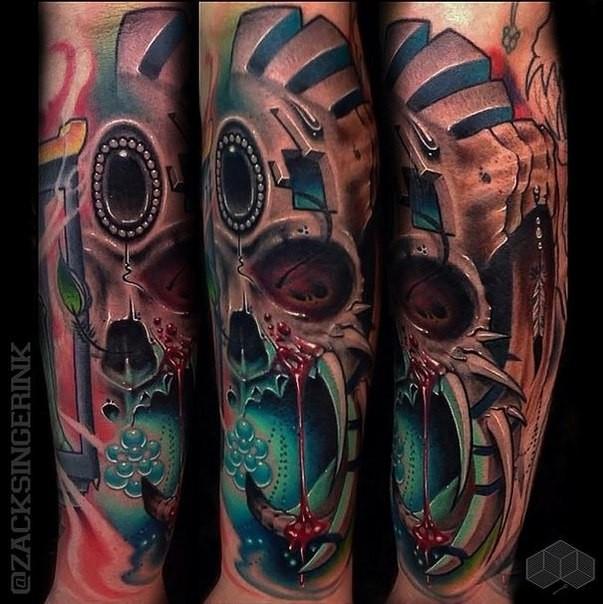 Illustrative style colored forearm tattoo of demonic mask