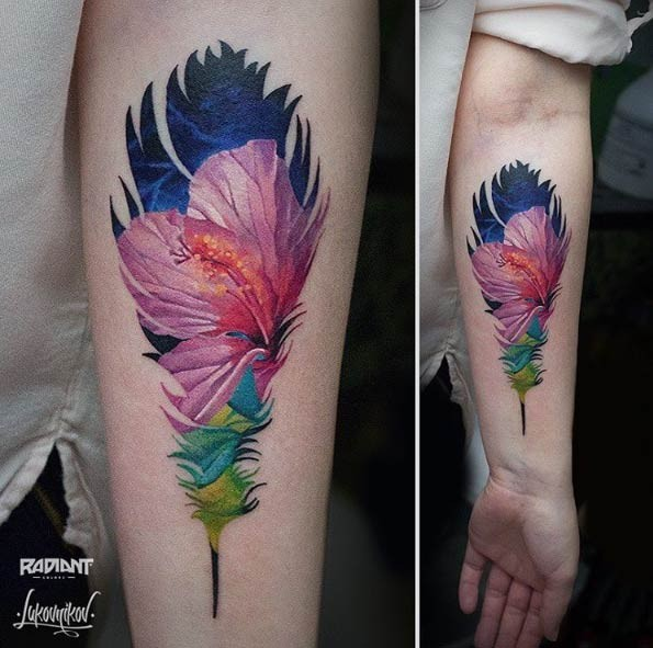 Illustrative style colored forearm tattoo of small flower