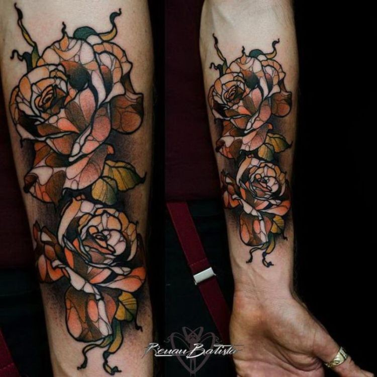 Illustrative style colored forearm tattoo of rose flowers