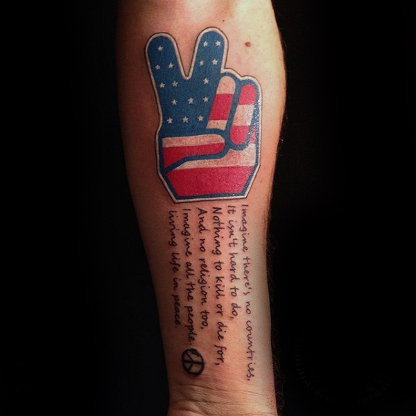 Illustrative style colored forearm tattoo of lettering with American symbol