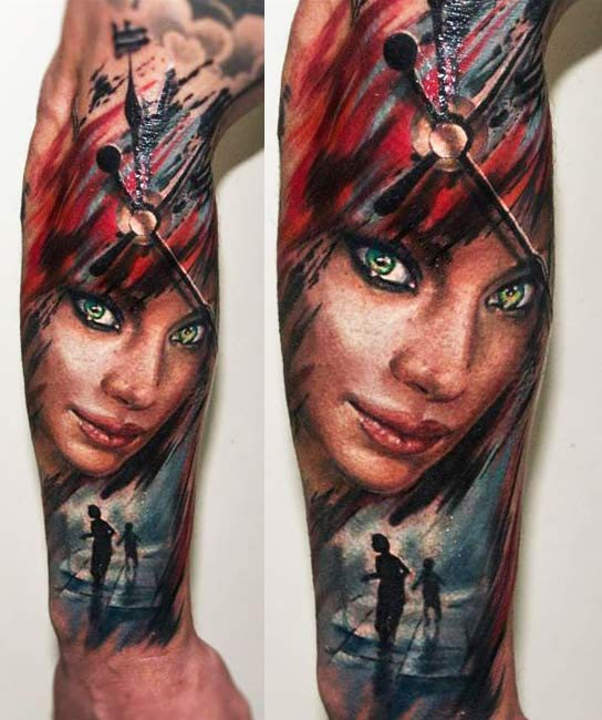 Illustrative style colored forearm tattoo of woman with clock and boys