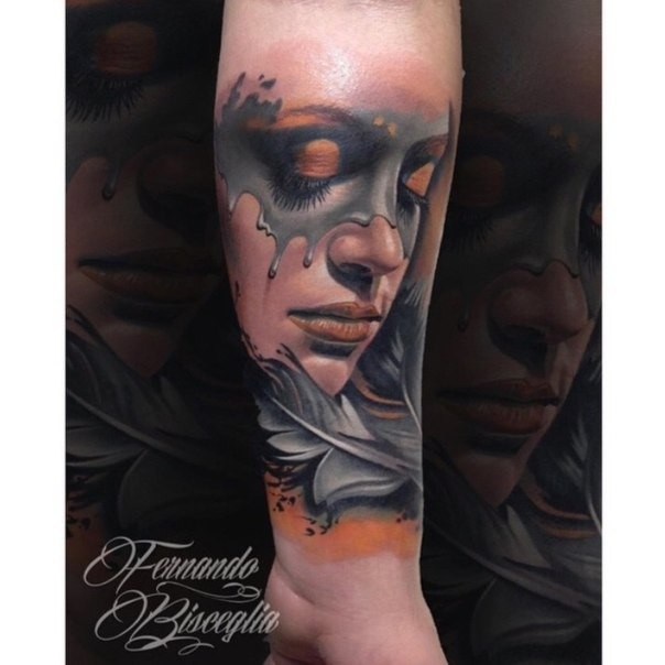 Illustrative style colored forearm tattoo of woman with feather