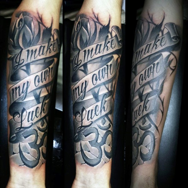 Illustrative style colored forearm tattoo of lettering and symbol