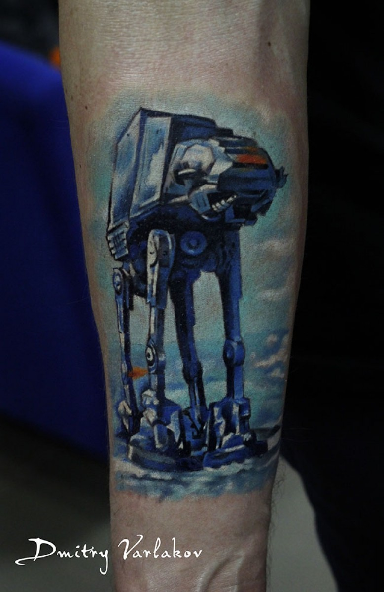 Illustrative style colored forearm tattoo of Star Wars AT-AT