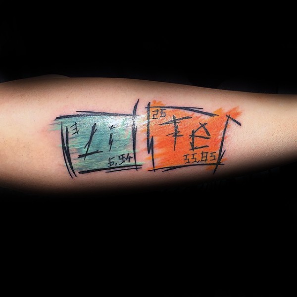 Illustrative style colored forearm tattoo of Asian chemistry table
