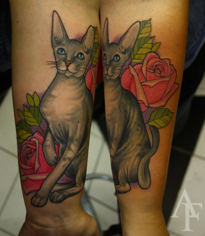 Illustrative style colored forearm tattoo of cat with rose and leaves