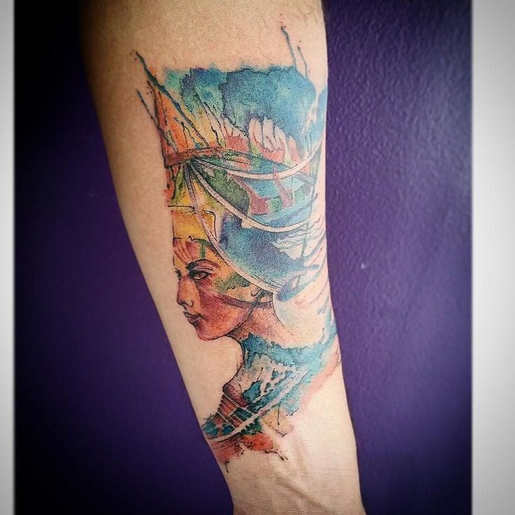 Illustrative style colored forearm tattoo of Egypt queen
