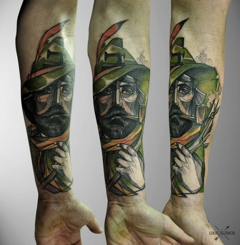 Illustrative style colored forearm tattoo of wood archer