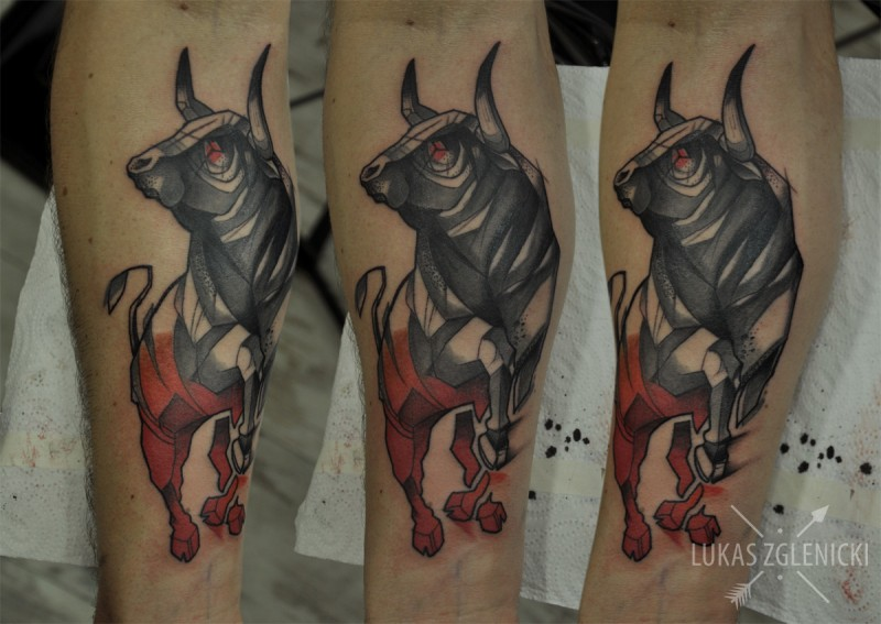 Illustrative style colored forearm tattoo of big running bull