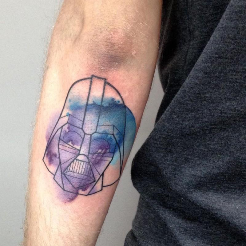 Illustrative style colored forearm tattoo of Darth Vader helmet