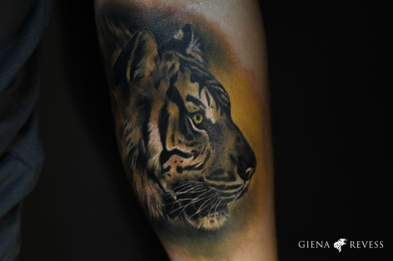 Illustrative style colored hand tattoo of tiger head