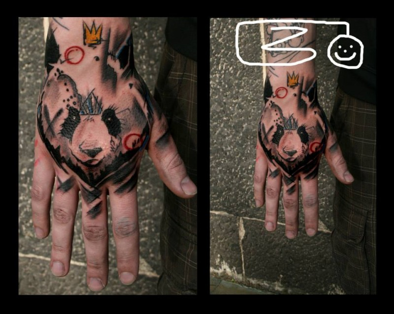 Illustrative style colored hand tattoo of panda bear