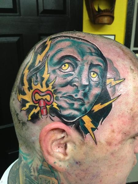 Illustrative style colored head tattoo of mans portrait with lightning