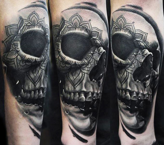 Illustrative style colored human skull with ornaments