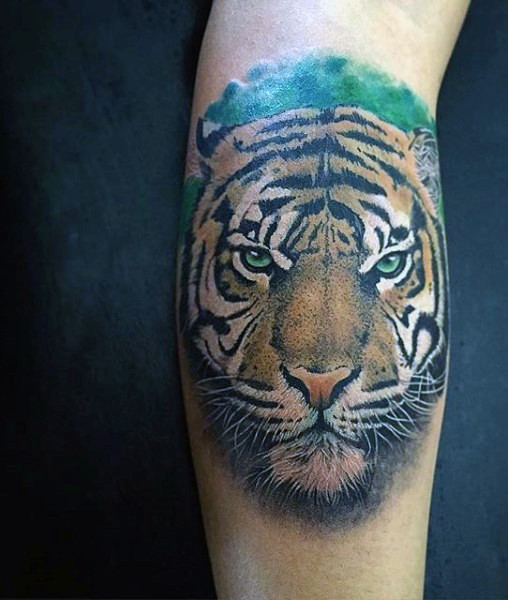 Illustrative style colored leg tattoo of tiger head