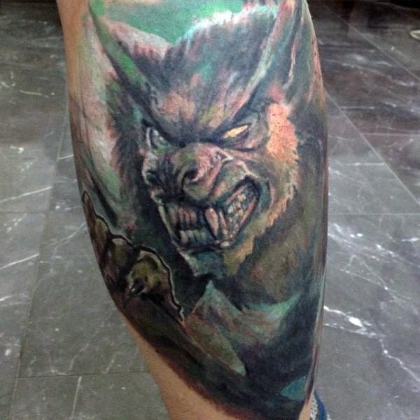 Illustrative style colored leg tattoo of werewolf