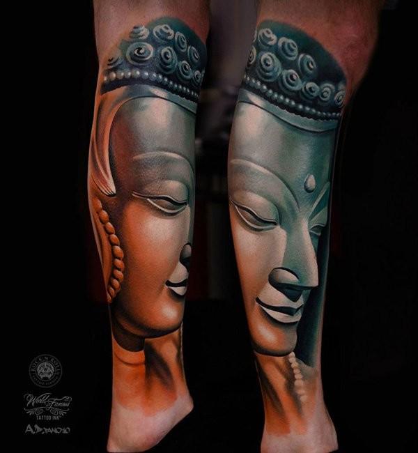 Illustrative style colored leg tattoo of Buddha statue