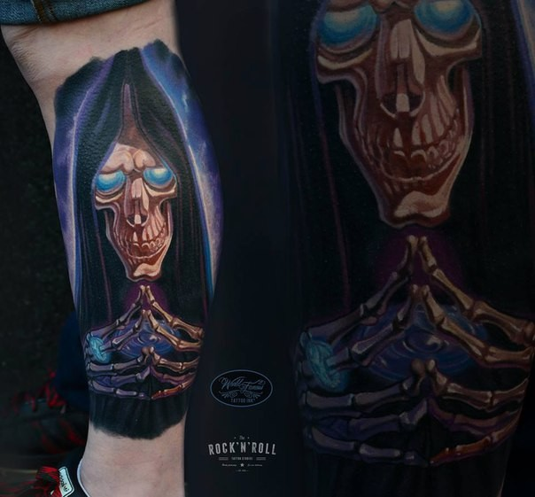 Illustrative style colored leg tattoo of magical Grimm reaper