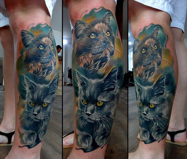 Illustrative style colored leg tattoo of cute cats