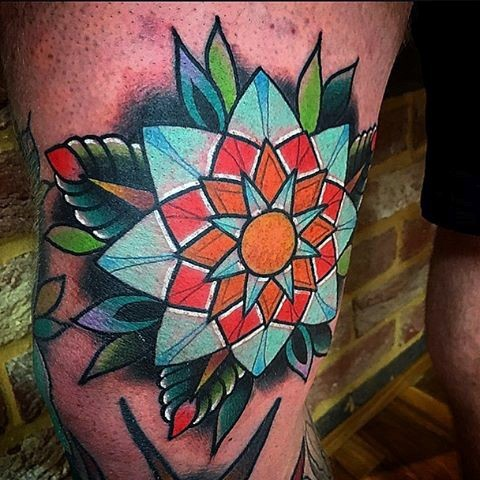 Illustrative style colored leg tattoo of amazing looking flower