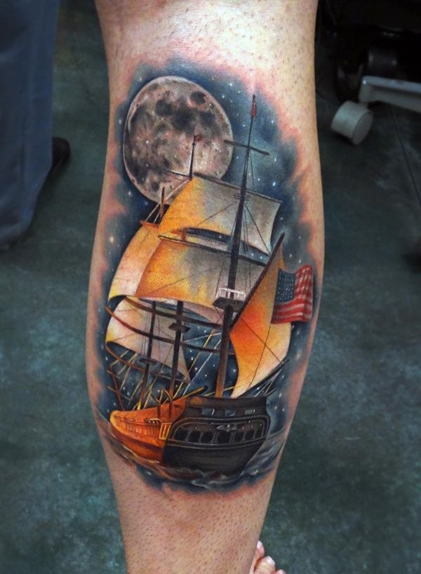 Illustrative style colored leg tattoo of sailing ship with night sky