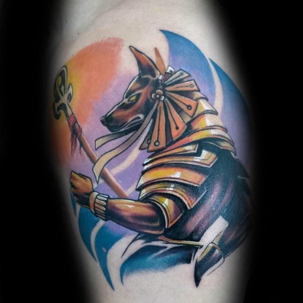 Illustrative style colored leg tattoo of fabulous Egypt God statue