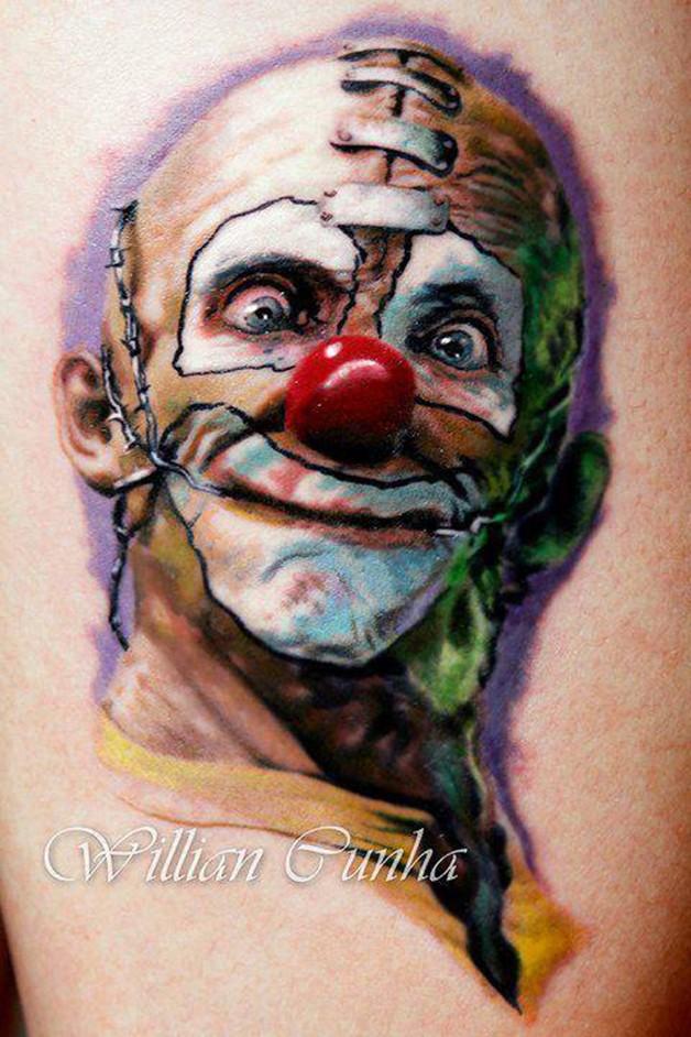 Illustrative style colored maniac clown tattoo