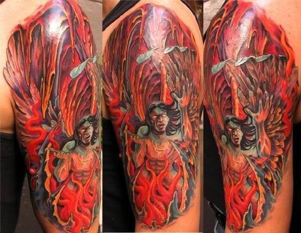 Illustrative style colored mystical demonic man tattoo on shoulder