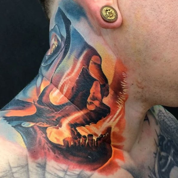 Illustrative style colored neck tattoo of skull with flames