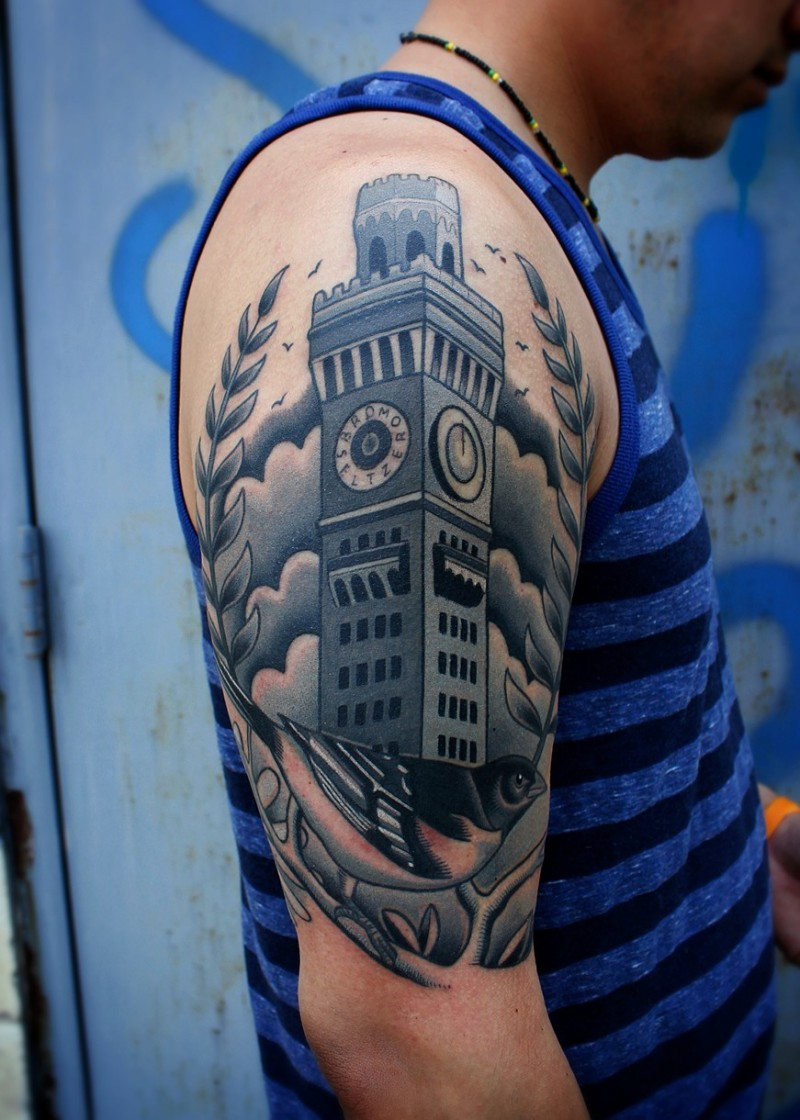 Illustrative style colored old tower with clock and bird tattoo on shoulder
