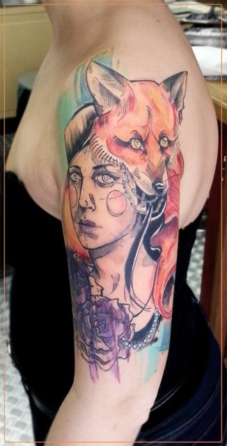 Illustrative style colored picture shoulder tattoo of woman with fox and flowers