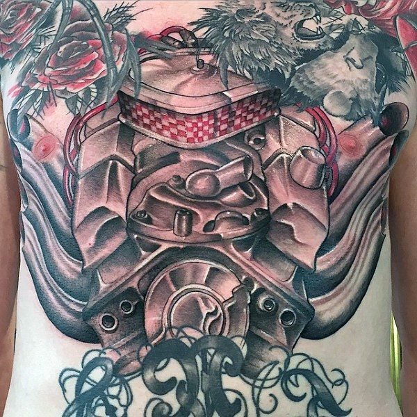 Illustrative style colored powerful engine tattoo on chest
