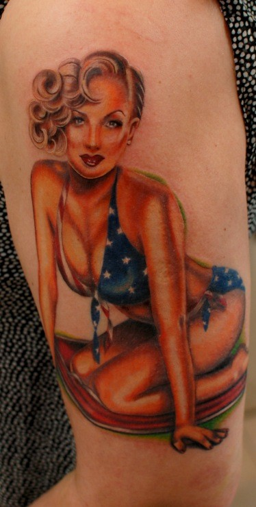 Illustrative style colored sexy woman tattoo on shoulder