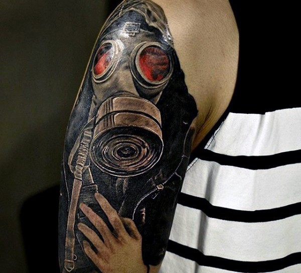Illustrative style colored shoulder tattoo of mystical man in gas mask