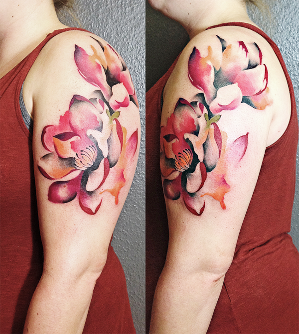Illustrative style colored shoulder tattoo of various flowers
