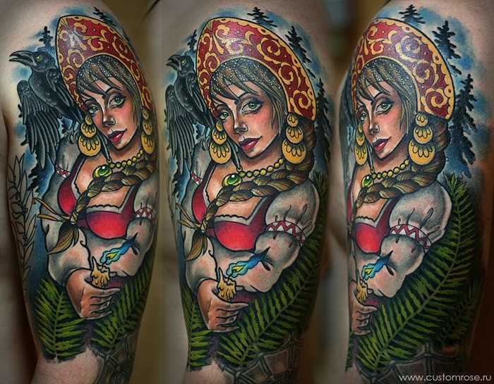 Illustrative style colored shoulder tattoo of beautiful woman in forest