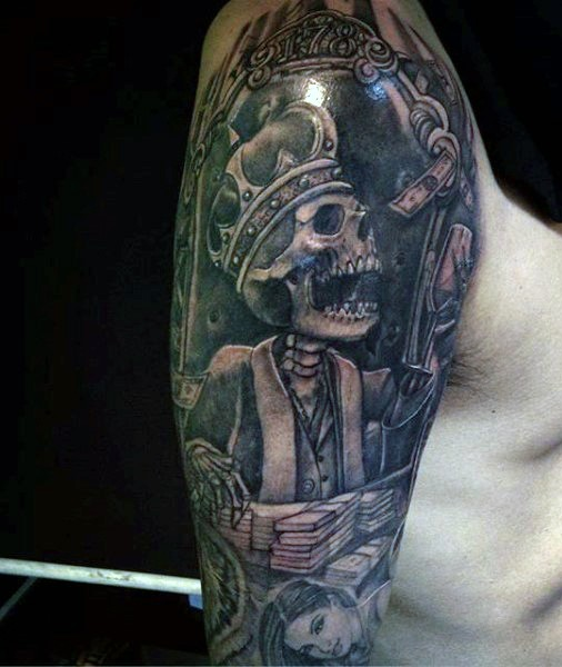 Illustrative style colored shoulder tattoo of skeleton king with money
