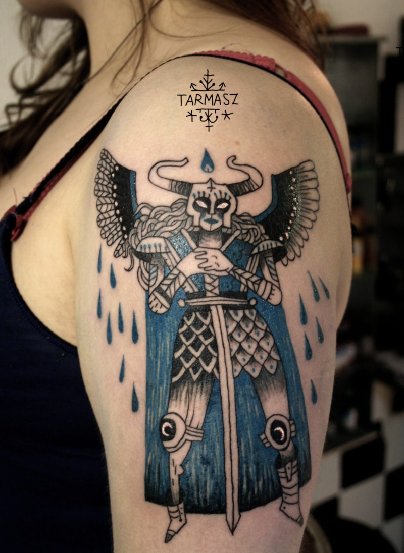 Illustrative style colored shoulder tattoo of mystical angel warrior
