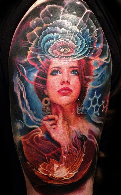 Illustrative style colored shoulder tattoo of woman face with mystical eye in sky
