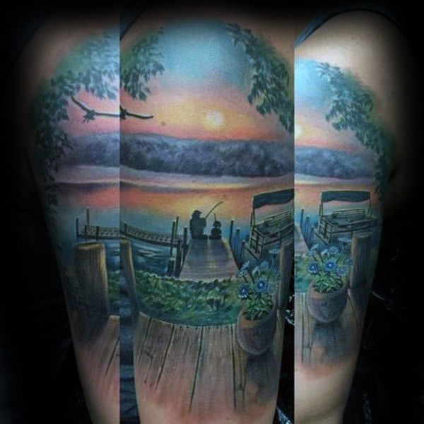 Illustrative style colored shoulder tattoo of fisherman with flowers