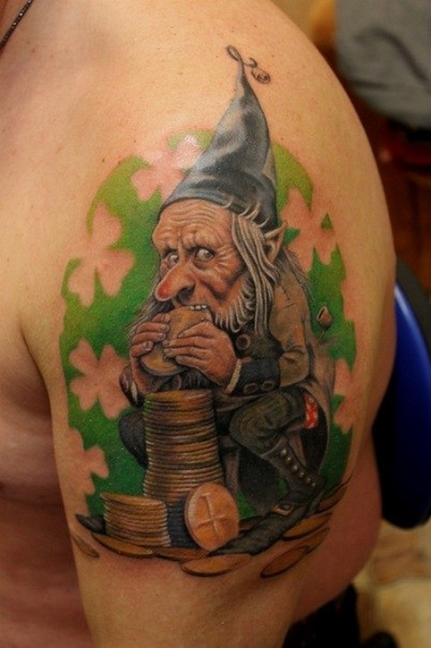 Illustrative style colored shoulder tattoo of Leprechaun with golden coins