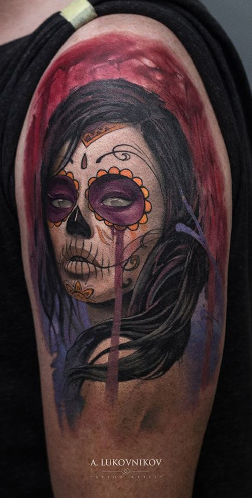 Illustrative style colored shoulder tattoo of Mexican woman portrait