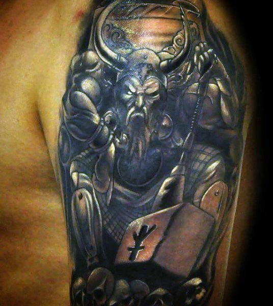 Illustrative style colored shoulder tattoo of fantasy viking