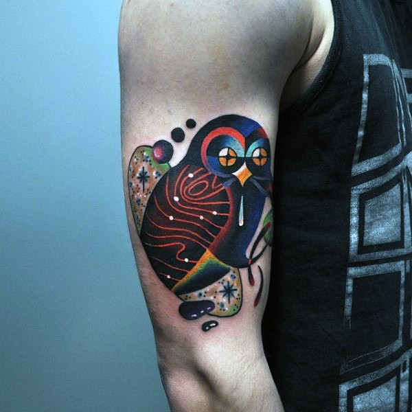illustrative style colored shoulder tattoo of fantasy owl